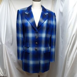 ESCADA Women's Royal Blue Plaid Jacket (Euro 40)